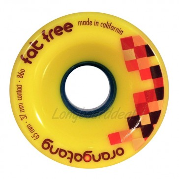 Orangatang Fat Free 65mm 86a Yellow longboard wielen