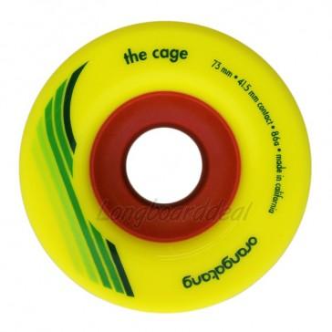 Orangatang The Cage 73mm 86a Yellow longboard wielen